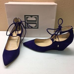 Ivanka Trump Purple Ankle Toe Wedge 7.5M